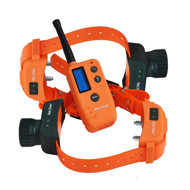 Petrainer PET910B2 Collar Adiestramiento y becada para dos perros | Mando con dos collares de becada y adiestramiento.