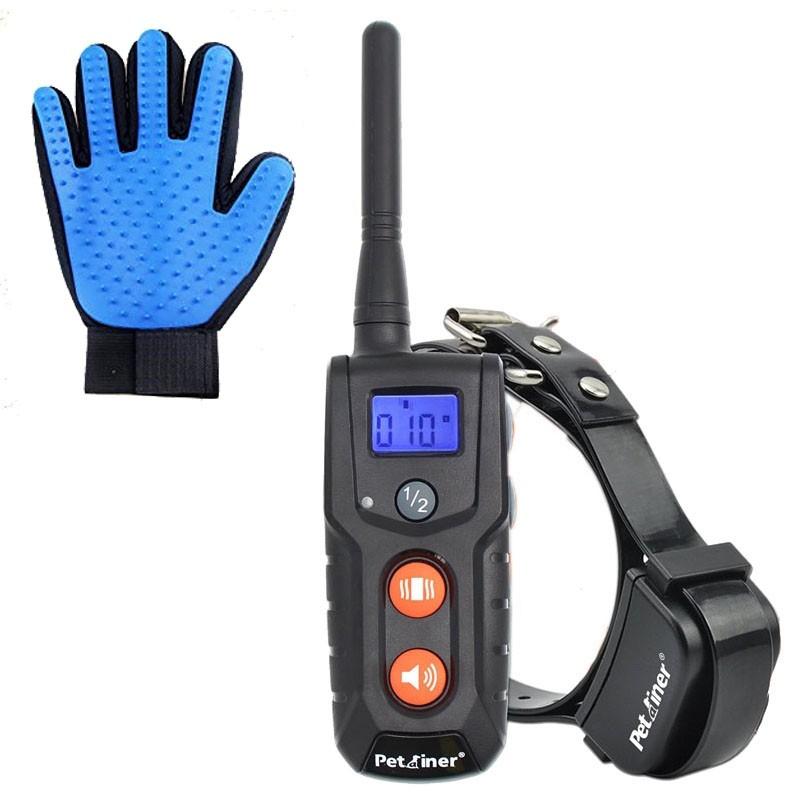 Petrainer PET 916 Collar eléctrico adiestramiento batería + Guante quitapelos Regalo | Collar electrónico bateria | precio collar adiestrar perros | mejor collar adiestramiento 2018