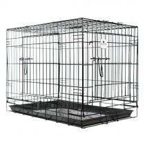 Jaula para perro plegable 124 cm plegable doble puerta resistente