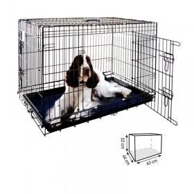 Jaula para perro 63cm Metálica Negra Plegable dos puertas